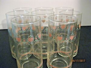 DRINKING GLASS TUMBLERS WITH PINK HEART DESIGN AROUND TOP 8 PIECE SET CORRELLE