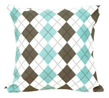 AL204a Aqua Blue Brown Grey Checker Cotton Canvas Cushion Cover *Custom Size*
