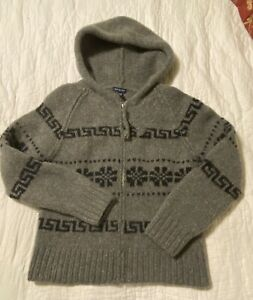 Vintage Women's M Gray Fair isle Knit by Hand Wool Zip Up Hooded Sweater Jacket