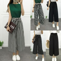 Women Wide Leg Stripes High Waist Loose Baggy Casual Striped Crop Pants Trousers