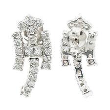 14K White Gold 1.80 Ct Round Baguette I VS1 Diamond Dangle Earrings 5.8 Grams