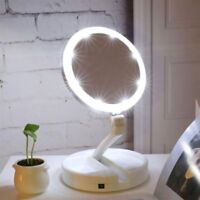 Portable Plastic Glass LED Lighted Makeup Mirror Vanity Compact Pocket For Girls