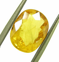 4.30 Ct Certified Natural Yellow Sapphire Pukhraj Loose Oval Gemstone - 19638