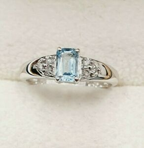 18ct White Gold Topaz & Diamond Solitaire Ring - Size N - STOCK CLEARANCE