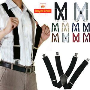 Mens Womens Adjustable Suspenders Plain Elastic Heavy Duty Clip On Trouser Brace