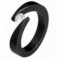 TITANIUM Bypass Tension Black Plated Fashion RING with Round CZ, size 8 - NEW -