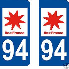 2 stickers autocollants plaques immatriculation auto Département Val-de-Marne 94