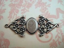 Oxidized Silver Plated Brass Fancy Connector Cameo Setting (1) - SORAT3317