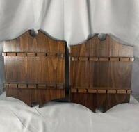 Wood Collectible Souvenir Spoon Holder Wall Display Set of 2 Rack Collector