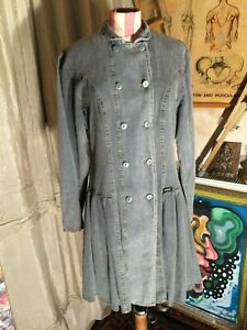vintage 80's grey stone washed denim jean double breasted shirt dress coat
