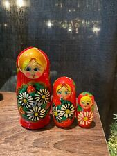 Russian Nesting Dolls Matreshka Red Colors 5pcs! Beautiful Christmas Gift!
