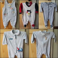 LOT OF FIVE (5) BABY BOY FOOTED VELOUR & COTTON ONESIE PAJAMAS SIZE 6-9 MONTH EC