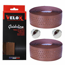 Velox Guidoline Soft Grip Brown Handlebar Tape + Chrome End Plugs Fixie Racer