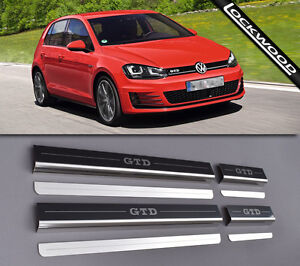 VW Golf Mk7 GTD (Released 2013) 4 Door Stainless Sill Protectors / Kick Plates