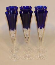 6 Ajka Albinka Castille Cobalt Blue 10 Inch Fluted Champagne Glasses Stems Flute