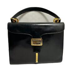 Gucci Authentic Vintage Big Jackie Satchel Hand Bag Black Leather 1960 rare