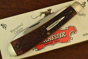 WINCHESTER USA BURNT ORANGE BONE JUMBO BANANA TRAPPER KNIFE 1994 NICE (8230)