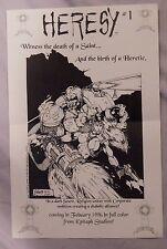 Heresy #1 Patrick Wojtowicz 1995 17X11 Promo Poster Epitaph Comics