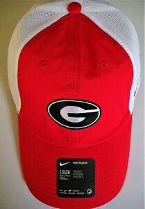 GEORGIA BULLDOGS ADULT ADJUSTABLE LOW-PROFILE NIKE CAP HAT W/ G & WHITE MESHBACK