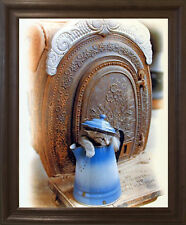 Cute Cat Kitten in Tea Kettle Funny Animal Wall Decor Brown Rust Framed Picture