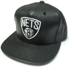 61271d1b792ee Brooklyn Nets NBA Mitchell   Ness Perforated Lambskin Leather Hat Cap  Snapback