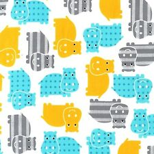 Robert Kaufman Cotton Fabric. Urban zoologie Hippo. By the FQ