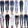 Womens Ripped Frayed High Waist Denim Jeans Pants Stretch Skinny Slim Trousers