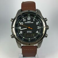 Timex Expedition Mens Indiglo 930 Y9 Brown Leather Band Alarm Chronometer Watch