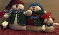 "Snowman Family Winter 13x10"" Fabric Snowmen Holiday table mantel window decor"
