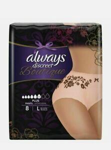 Always Discreet Boutique Pants Plus Underwear Large Sensitive Bladder Pack of 8