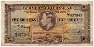 BERMUDA 1937 KING GEORGE VI 5 SHILLINGS BANKNOTE CRISP.PICK#8.