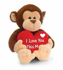 KEEL TOYS Brown MONKEY with HEART I Love You This Much 20cm VALENTINE Soft Toy