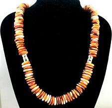 Stunning Southwestern Sterling Silver Orange Spiny Oyster Necklace