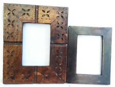 Wooden Photo Frame Vintage Old Hand Carved Picture Collectible Lot of 2