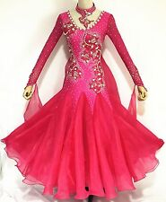 Ballroom Competition Dance Dress Hot Pink Waltz Gown White Bead top Custom Made