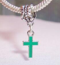 Green Enamel Cross Christian Dangle Bead fits Silver European Charm Bracelets