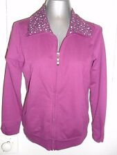 Suzanne Grae size S womens poly/cotton purple L/slvd zippered jacket/top in EC