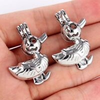 5X Silver Plated Duck Pearl Beads Cage Pendant Necklace Jewelry Making DIY