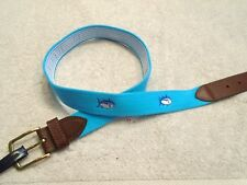 Southern Tide Embroidered Skipjack Belt Turquoise  Blue NWT Size 36 $75