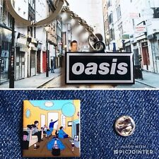 Oasis Logo Key Ring And Definitely Maybe Pin Badge Deal .. Manchester Noel Liam