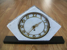 VINTAGE ART DECO GEOMETRIC MARBLE CLOCK- BLACK/WHITE
