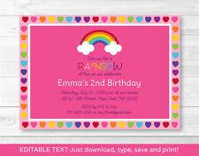 Rainbow Hearts Printable Birthday Invitation Editable PDF