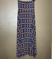 Lularoe Maxi Skirt Size XS Geometric Print Modest Blue Pink Women's Stretchy