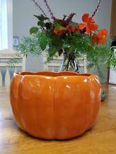 Pottery Barn Pumpkin serving Bowl Orange Thanksgiving Halloween glazed stoneware