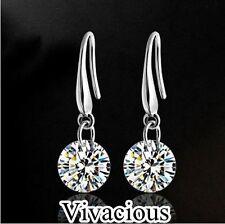 Stunning 925 Sterling Silver Crystal Stud Drop Bridal Hook Earrings