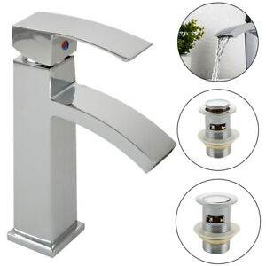 Modern Basin Sink Tap Square Mixer Chrome Mono Blo Bathroom Cloakroom with Waste