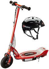 Razor E100 24V Motorized Electric Scooter (Red) & Youth Sport Helmet (Black)