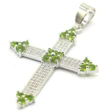 Classic Long Cross Shape Green Peridot White CZ Ladies Present Silver Pendant