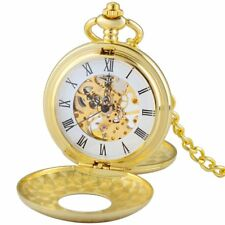 Men Luxury Golden Double Hunter Skeleton Mechanical Pocket Watch Chain Antique