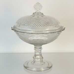 """Spectacular 11"""" EAPG 1877 Covered Compote Scalloped Diamond Point Central Glass"""